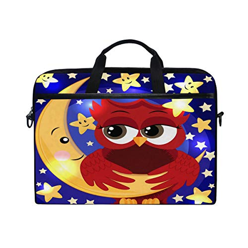 iRoad Canvas Laptop Bag Cartoon Moon Star Owl Laptop Bag Case with Shoulder Strap Computer Bag for Women Men Business 14-15 Inch