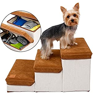 3-Step Dog Folding Steps Stairs for High Bed with Foam &Storage Compartment, Ideal for Couch Chair Furniture Car, Foldable Washable Removable Cover, Pet Safety Ladder Ramp for Small to Large Dog Cat