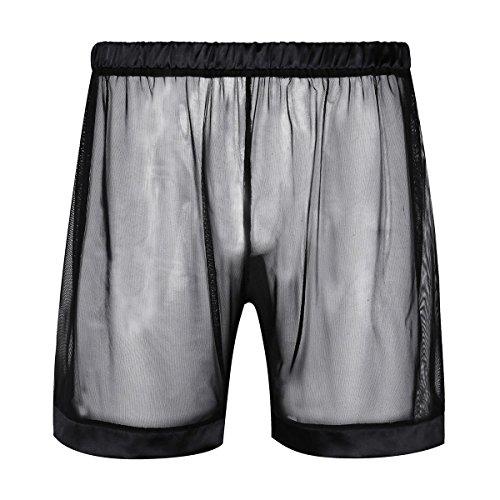 iEFiEL Herren Boxer Boxershort Unterhose Männer Unterwäsche Basic Boxershorts Transparent Retroshort Boxer Briefs Trunks Reizwäsche M-XL Schwarz Medium