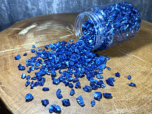 Waschbar Crushed Glass for Crafts 0.66 Lb Jar, Natural Glass Kulort Decoration, Crystals Glass for Resin Art (Navy Blue Pearl)