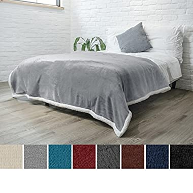 PAVILIA Premium Sherpa Twin Size Blanket   Flannel Fleece Twin Bed Blanket   Plush, Soft, Cozy, Warm, Lightweight Microfiber, Reversible, All Season Use (Light Grey, 60 x 80 Inches)