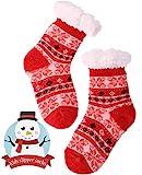 Girls Boys Slipper Socks Child Warm Fuzzy Fluffy Soft Fleece Lined Plush Thick Sherpa Winter Kids Socks(Red,9-12 Y)