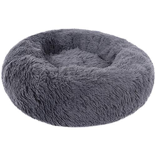 BVAGSS Rundes Plüsch Hundesofa Katzensofa Kissen Bett Rund Sofa Haustierbett für Katzen und Hunde XH034 (Diameter:80, Dark Grey)
