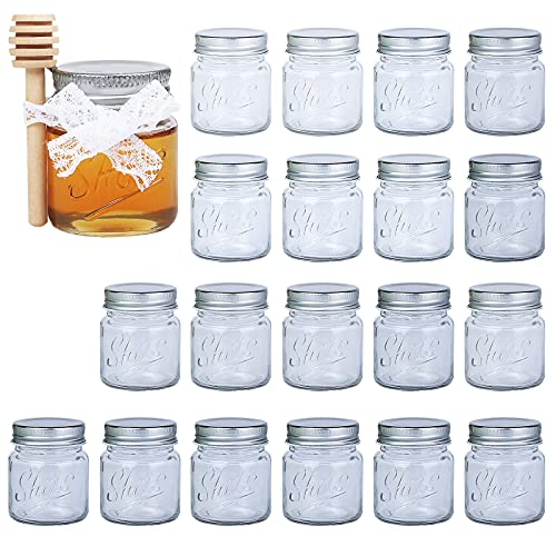 Rormket 2Oz 16 Mini Mason Jars Shots Glasses With silver Lids, Wooden Honey Dipper Sticks, lace ribbon, Perfect for Honey Glass Jar Canning Favors Candles Crafts (16)