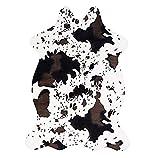 TIANRUOXIAOKE Alfombra de piel sintética de vaca, 110 x 75 cm, con estampado de animales, para sala de estar, dormitorio, antideslizante, vaca, pequeña)
