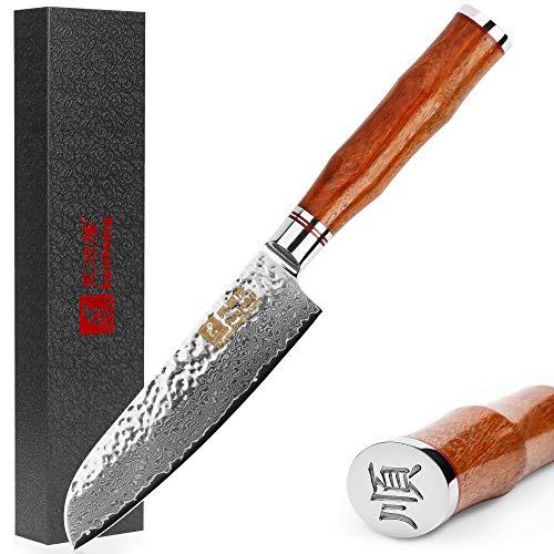 Sunlong 5 Pulgadas VG10 Damasco Cuchillo Santoku Cuchillos Cubiertos de Cocina Profesionales Cuchillo Damasco Utilidad SL-DK1043R