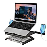 welltop Support Ordinateur Portable, Support PC Portable Ventilé, Laptop Stand Réglable Ergonomique Léger Table de Lit Pliable pour MacBook Air Pro, PC, iPad, Notebook, Tablette (12-17 Pouce), Noir