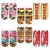 Zmart Hamburger Ice Cream Socks 3D Print Funny Cute Crazy Colorful Low...