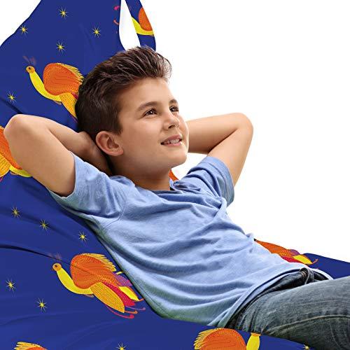 ABAKUHAUS Feniks Zitzak, Vogels in de kleuren Starry Night Sky, Veel Ruimte om Zacht Speelgoed als Knuffels in op te Bergen, met Handvat, Violet Blue Vermilion