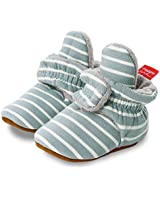 Mybbay Newborn Baby Boys Girls Cozy Fleece Booties Socks Boots Stay On Slippers Shoe Toddler Grippers House Shoe 01 Blue Stripe, 12-18 Months Toddler