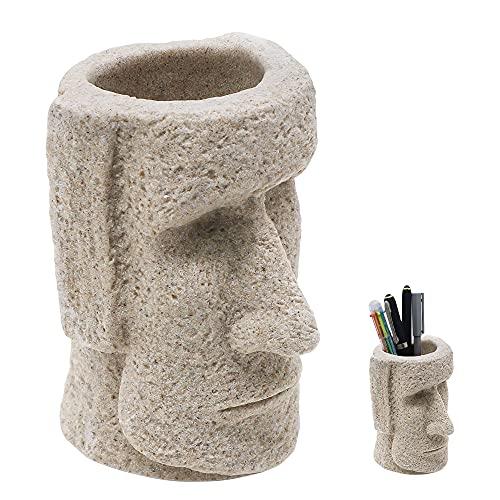 QINNKJIA ペン立て ペンスタンド 卓上収納 鉛筆 ブラシ収納 飾り 置物 多用 机上用品 レトロ 石像 樹脂 幅8CM高12.7CM内径5CM深さ8CM