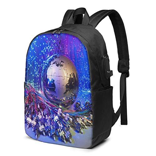 Laptop Backpack with USB Port Earth Tech World, Business Travel Bag, College School Computer Rucksack Bag for Men Women 17 Inch Laptop Notebook