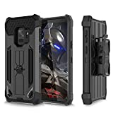 WWW Galaxy S9 Case, [Heavy Duty] Full-Body Protective Case [Shock Absorption] Rugged Holster Cover with [ 360° Rotating Back Splint] and [Kickstand] for Samsung Galaxy S9 Black