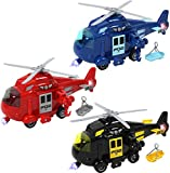 TeganPlay 3 Pack Friction Powered Rescue Helicopter Toys for Toddlers with Lights and Sounds Push and Go Toy Set for Boys and Girls