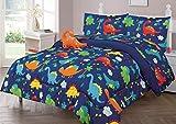Bedding Haus Twin Kids Comforter Bedding Set (6pc), Multi-Color Dinosaur Design, Fun and Bright Bed Covers Boy Girl Kids, Comforter, Pillow Sham, Toy Pillow, 3pc Sheet Set, Twin 6pc Dino Multi