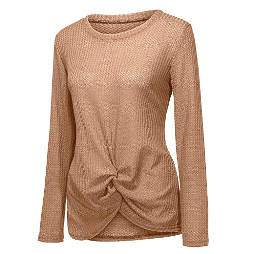 Top de Color Sólido para Mujer Otoño Camisetas de Punto Nudo Giro Parte Delantera Superior Drapeada Manga Larga Casual Suave Elegante Fiesta Moda