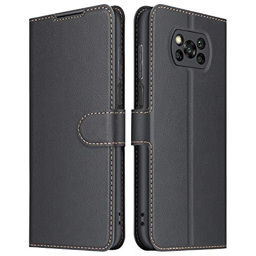 ELESNOW Hülle für Xiaomi Poco X3 NFC/Poco X3 Pro, Premium Leder Flip Schutzhülle Tasche Handyhülle mit [ Magnetverschluss, Kartenfach, Standfunktion ] für Xiaomi Poco X3 NFC (Schwarz)