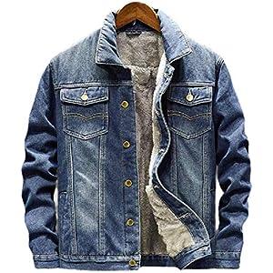 Men's Outerwear Winter Classic Thicken Moto Biker Fleece-Lined Quilted Denim Jacket Coat