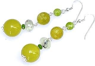 Orecchini con giada verde oliva, quarzo peridoto e prehnite, pendenti in argento 925, orecchini lunghi, gioielli pietre du...
