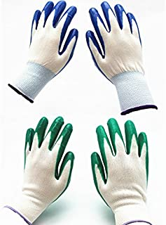 7 Pairs Pack SKYTREE Gardening Gloves, Work Gloves , Comfort Flex Coated, Breathable Nylon Shell, Nitrile Coating, Women's Medium Size, Green/Blue