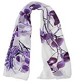 Alysee Women Chinese Classic Style Print Chiffon Long Scarf Shawl Wrap Color Grape