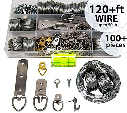 Picture Wire Hanging Kit 100+ Pieces - D-Ring, Screws, Hanging Hooks,Level. Supports up to 50 lbs (120 Feet) Stainless Steel Wire Hanger | Comes with Solid Box