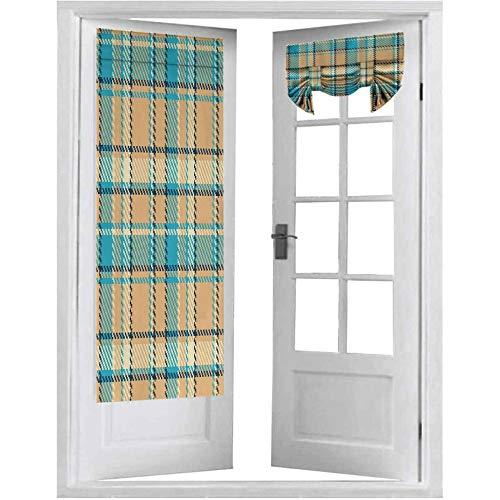 Cortinas francesas para puerta con diseño de zigzag en línea antigua cultura celta inspirada en la moda, 1 panel de 66 x 172 cm, cortinas de ventana para dormitorio, color crema azul claro azul oscuro
