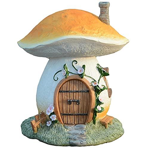 Miniatur-Pilz-Feen-Haus Baum Feenhaus Wasserdicht Solar Gartenfigur Für Außen Elfenhaus LED Solarleuchten Garten Deko Solar Gartenbeleuchtung Aus Harz Pilz Fee Haus Dekor Gnom Haus Statue