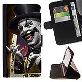 XP-Tech / Flip Funda Carcasa PU de Cuero para HTC Desire 530 - Joker Card Poker Scary Top Hat Laugh