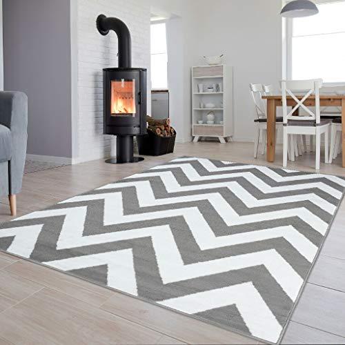 Tapiso Colección Luxury Alfombra Salón Moderno Piso Color Gris Blanco Diseño Marroquí Geométrico Zigzag Fácil Mantenimiento 120 x 170 cm