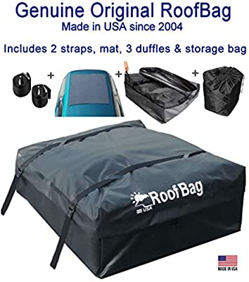 RoofBag Rooftop Cargo Carrier Made in USA, 15 Cubic Feet. Waterproof Car Top Carrier Include 3 Liner Bags, Roof Protective Mat, Storage Bag, Straps