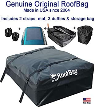 RoofBag Rooftop Cargo Carrier Made in USA 15 Cubic Feet Waterproof Car Top Carrier for Cars with Racks or Without Racks Includes 2 Straps 3 Liner Bags Roof Protective Mat Storage Bag