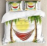 Juego de funda nórdica Graphic Beach, dibujos animados de vacaciones de ocio con hamaca relajante entre palmeras Tropic Island, juego de cama decorativo de 3 piezas con 2 fundas de almohada, REINA mul