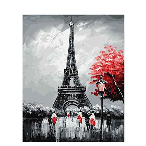 CUNYA Paris DIY Malerei nach Zahlen Landschaft Kalligraphie Malerei Moderne Wandkunst handgemalte Ölgemälde für zu Hause