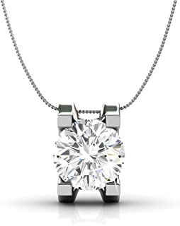 Clara Bright Solitaire Pendant Necklace, Women's 18k White Gold Plated Necklace with a Sparkling Solitaire Round Cut Swarovski Crystal, Pendant Necklace for Women