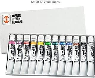 Turner Colour Works Watercolor Paint Set - Design Gouache Premier Opaque Watercolor Paint - 25 ml Tubes - Set of 12 Assorted Colors
