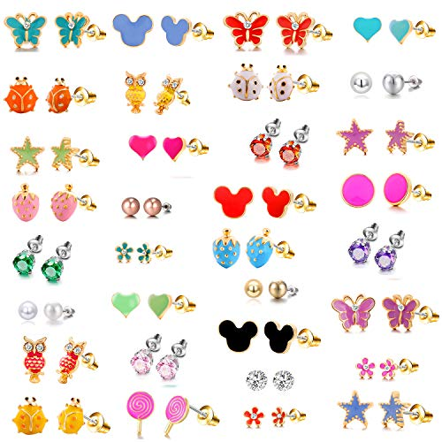 33 Pairs 18K Gold Plated Small Cute Simple Post Stud Earrings Set for...