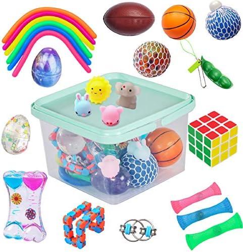 24 Pack Bundle Sensory Fidget Toys Set Liquid Motion Timer Grape Ball Mochi Squishy Stretchy product image