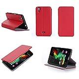 XEPTIO Etui Wiko Rainbow Lite 4g Rouge Ultra Slim Cuir Style avec Stand - Housse...