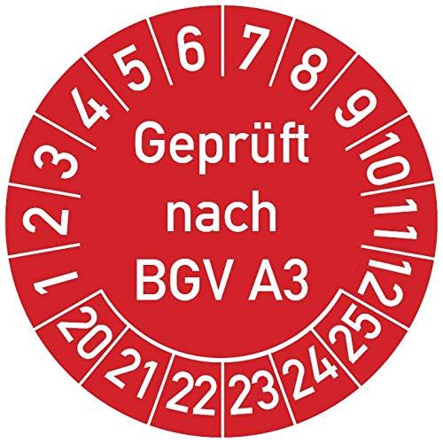 Geprüft nach BGV A3 Prüfplakette, 250 Stück, in verschiedenen Farben und Größen, Prüfetikett Prüfsiegel Plakette (25 mm Ø, Rot)