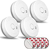 Ecoey Smoke Alarm, Portable Smoke Alarm (Battery Include) with Photoelectric Technology and Low Battery Signal, Fire Alarm with Test Button and Silence Function for House, FJ136GB, 4 Pack Small Size