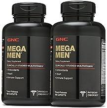 GNC Mega Men Multivitamin, Twin Pack, 180 Caplets per Bottle, Heart and Immune Support