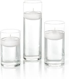 Yummi Set of 18 Floating Candles and Cylinder Vases - White