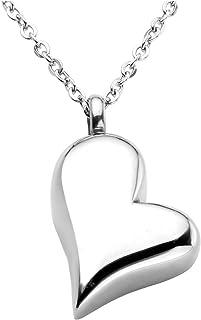 Zysta Memorial - Ciondolo a forma di cuore con urna e imbuto, in acciaio inox e argento