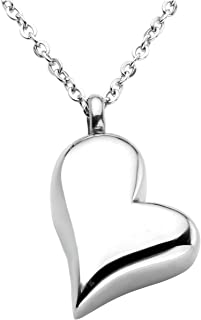 Jovivi Personalized Custom Stainless Steel Heart Urn Necklaces for Ashes Memorial Pendant Keepsake Cremation Jewelry with Filler Kit & Gift Box
