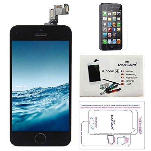 Trop Saint Kit di Riparazione Vetro Schermo per iPhone SE (2016) Nero Ricambio Completo LCD Display - con Istruzioni, Attrezzi e Pellicola Protettiva