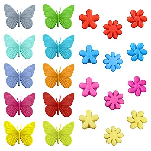 Cisurt Segnabicchieri Silicone 22 Pezzi Segna Bicchieri Colorati Segnabicchiere Segnabicchieri Marcatori per Bicchieri Vetri Riutilizzabili Marcatori per Bar Party Farfalla e Fiore