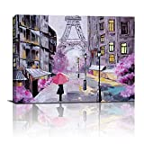 Modern Canvas Wall Art Eiffel Tower Canvas Printed Wall Art Red Umbrella Romance Purple Canvas Printed Picture for Living Room Bedroom Kitchen Home Decor 12x 16 inch 1 piece