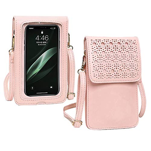 Convetu Touch Screen Purse Leather for Women, Touch Purse Phone Case As Seen on TV, Cell Phone Purse Crossbody with Touchscreen, Touchscreen Purse with Clear Window for Phone Up to 7.2 Inch (Pink)