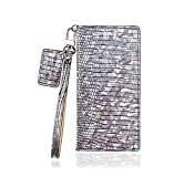 UW Hologram Glossy Handmade Cow Leather Cell Phone Case for Samsung Galaxy Note 9 (Silver)